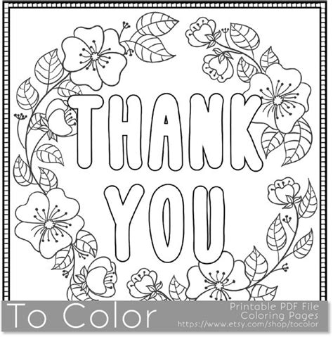 coloring pages saying thank you thank you printable coloring page for adults pdf jpg