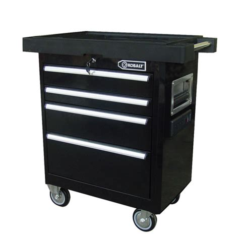 4 Drawer Tool Cabinet by Kobalt 4 Drawer 27 Quot Black Powder Coated Steel Tool Box