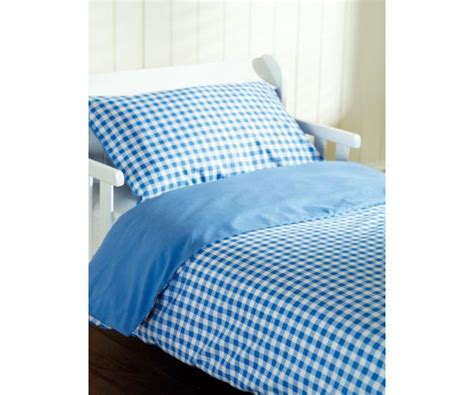 gingham bedding saplings cot bed duvet cover and pillow case blue gingham