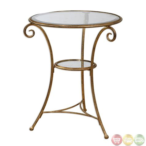 iron accent tables maia gold leaf finish iron base glass top accent table 24329