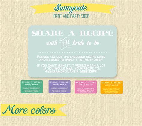 bridal shower invitation recipe wording bring a recipe enclosure card for bridal shower invites