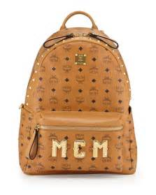 mcm stark m collection studded backpack cognac