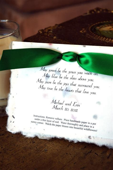 Irish Blessing Wedding Party Favor   Eco Friendly