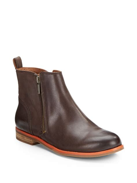brand boots for lucky brand dalia sidezip leather ankle boots in brown lyst