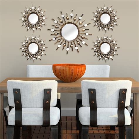 stratton home decor stratton home decor burst 5 piece mirror set reviews