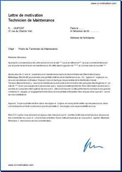 Lettre De Motivation Technicien De Maintenance Industrielle Modele Lettre De Motivation Technicien De Maintenance Industrielle Document