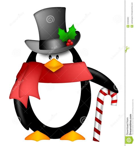 Top Pingun penguin top hat scarf clipart stock