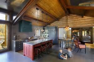 Rustic Bookcase Mountain Lodge Blending Rustic And Modern Details In