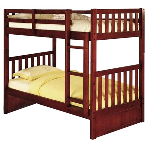 Twin Over Twin Mission Bunk Bed Merlot Dcg Stores Merlot Bunk Bed