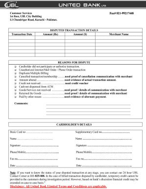 Dispute Resolution Template Despute Form Of Ubl Bank Fill Printable Fillable Blank Pdffiller