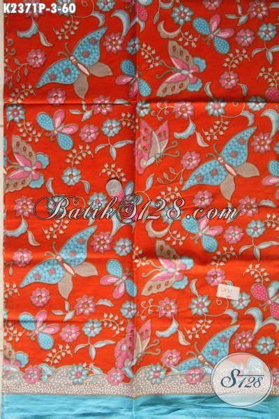 Kain Batik Halus Motif Cendrawasih Orange Bahan Batik Promo batik kain orange motif bunga dan kupu batik printing
