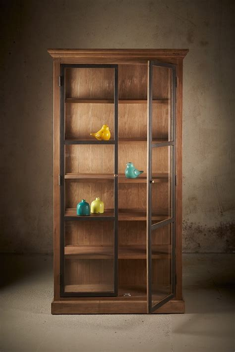 Reclaimed Elm   Glass Front Display Cabinet   Natural