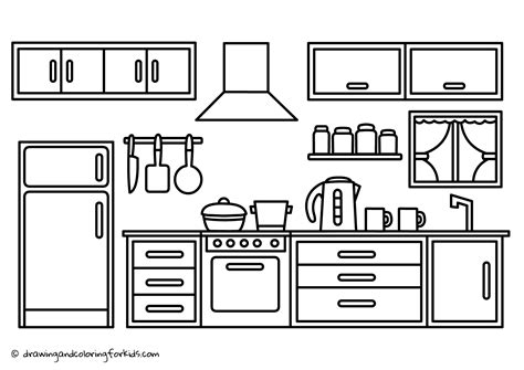 Cabinet Page by Coloring Page Kitchen Drawing Kitchen Cabinets Kitchen