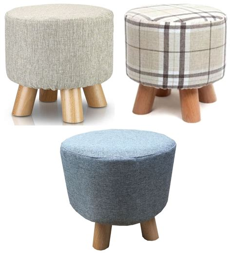 Where Can I Buy An Ottoman Oak Upholstered Footstool Ottoman Pouffe Padded Stool Solid Wooden Legs Uk Ebay