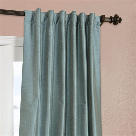 Blue Silk Drapes Blue Agave Yarn Dyed Faux Dupioni Silk Curtain Drapes