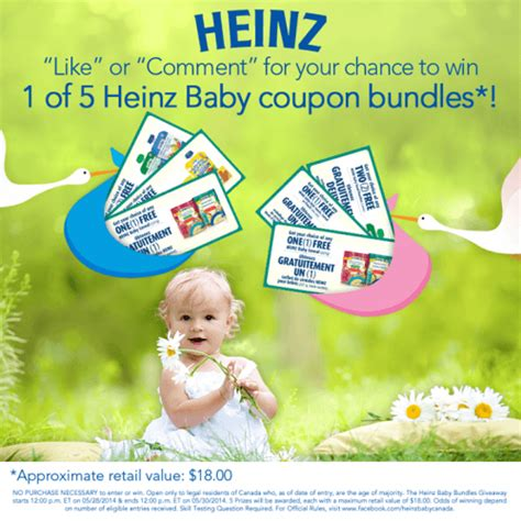 heinz baby canada facebook contest win 1 of 5 free baby coupon bundles canadian - Free Baby Giveaways Canada