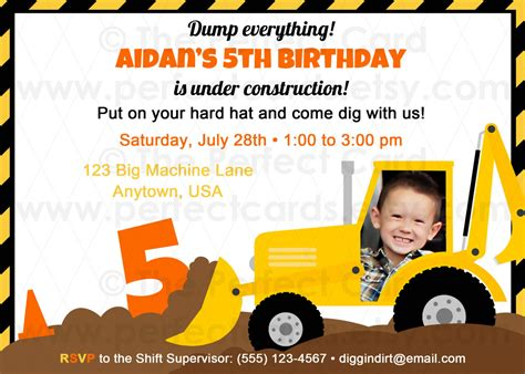 Construction Themed Birthday Card Template by Construction Birthday Invitations Construction