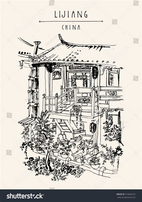 chinese house coloring page traditional chinese house lijiang yunnan china stock