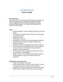 Chef Duties by Utility Cook Description Template Sle Form Biztree