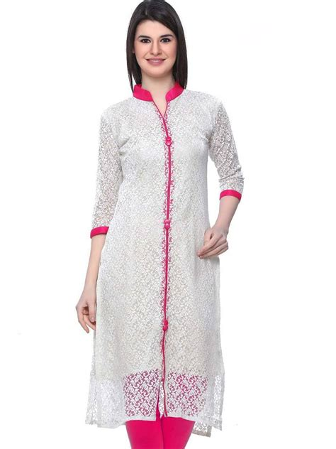 kurti pattern in white buy white plain net kurti online