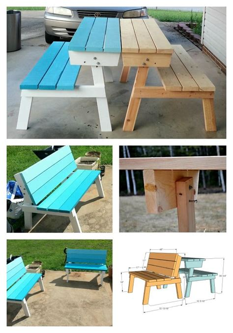 convert a bench folding picnic table benches that convert to picnic table easier to make than