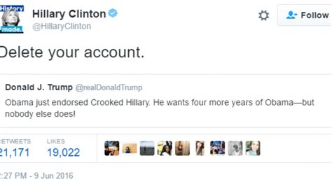 donald trump twitter deleted twitter nyse twtr hillary clinton to donald trump
