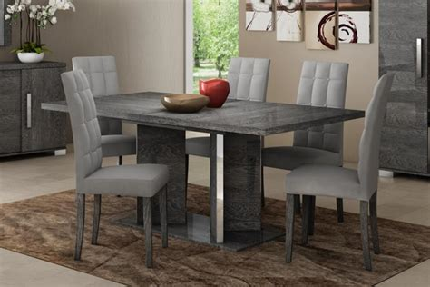 Dining Table And Chairs Gray Modern Venicia Collection Extending Dining Table In Grey
