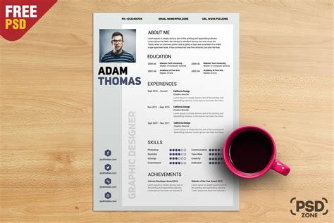 clean resume cv free psd psd zone