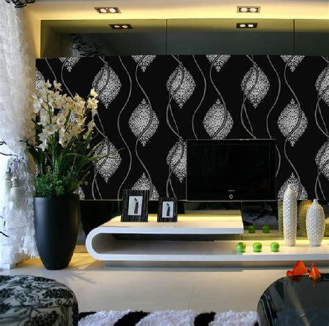 abstract wallpaper for living room black white glitter wall paper roll metallic silver black