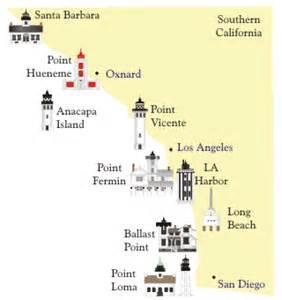california lighthouses map southern california lighthouses california dreamin
