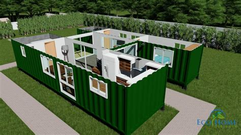 Shipping Container House Floor Plans by Sch15 2 X 40ft Container Home With Breezeway 3d Render