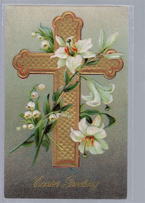 unique postcards easter postcard cross with lilies religious unique