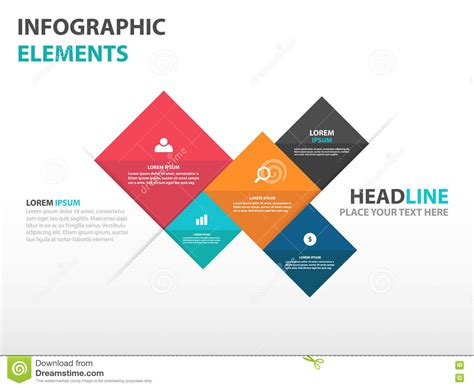 magazine design elements vector abstract 5 square business infographics elements