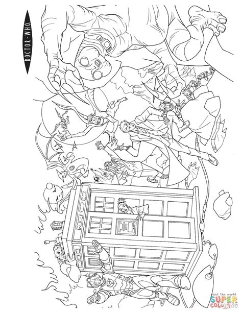 action scene from doctor who coloring page free