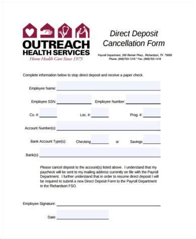 Recurring Deposit Cancellation Letter Format sle direct deposit cancellation forms 7 free documents in word pdf