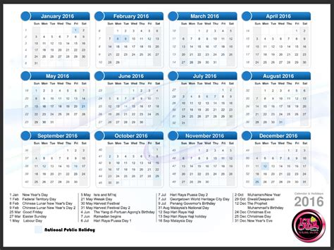 new year malaysia calendar 2016 events management malaysia event