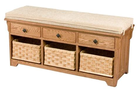 Storage Bench With Drawers by Amish Lattice Weave Storage Bench With Drawers And Baskets