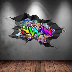 multi colour personalised 3d graffiti name cracked wall graffiti arrows mandala vinyl wall art sticker vinyl