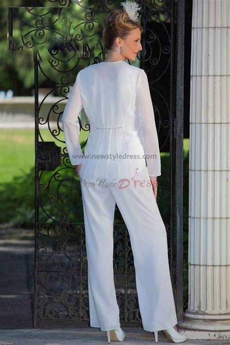 white chiffon mother   bride pants suits wedding nmo