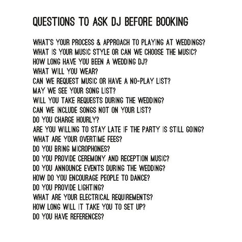 Or Question To Ask Questions To Ask The Dj Before Booking Bexbernard