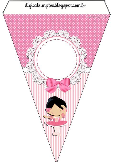Banner Hbd Minnie Pita kit de personalizados tema quot bailarina rosa quot para imprimir convites digitais simples