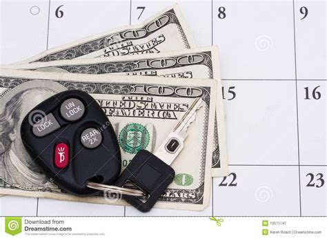 Car Tyres Pay Monthly by Car Payment Is Due Stock Image Image Of Time Past
