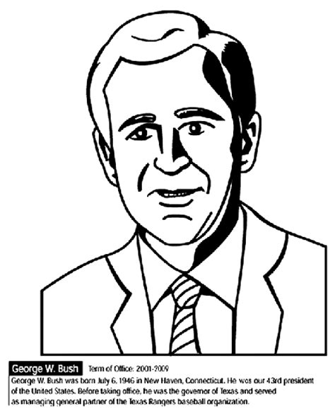 free printable coloring pages of us presidents u s president george w bush coloring page crayola com