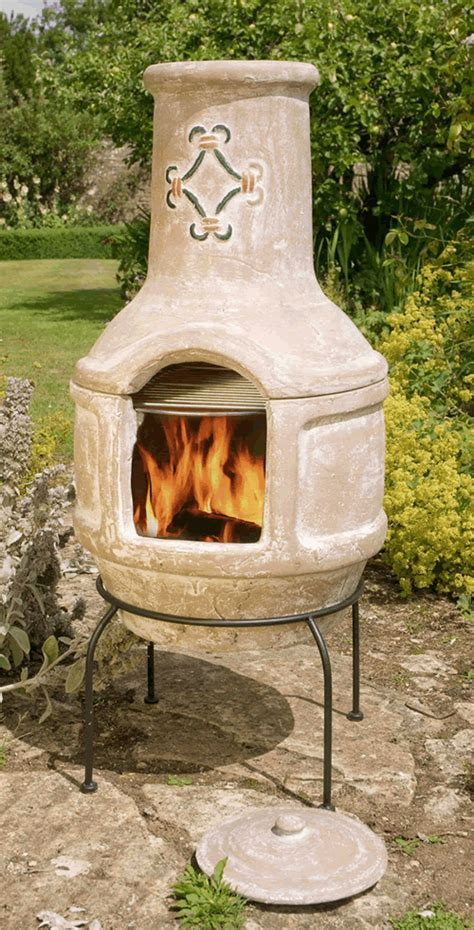 Chiminea And Bbq Large Mexican Clay Chimenea Scroll Bbq 163 89 99