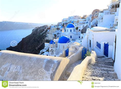 Mediterranean House Plans With Photos Aegean Sea Cycladic Volcanic Island Of Santorini Stock
