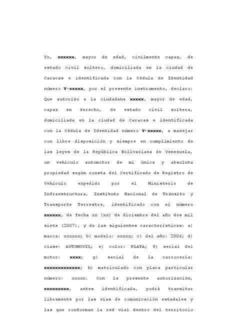 carta de autorizacion para utilizar vehiculo autorizaci 243 n para manejar veh 237 culo dentro territorio