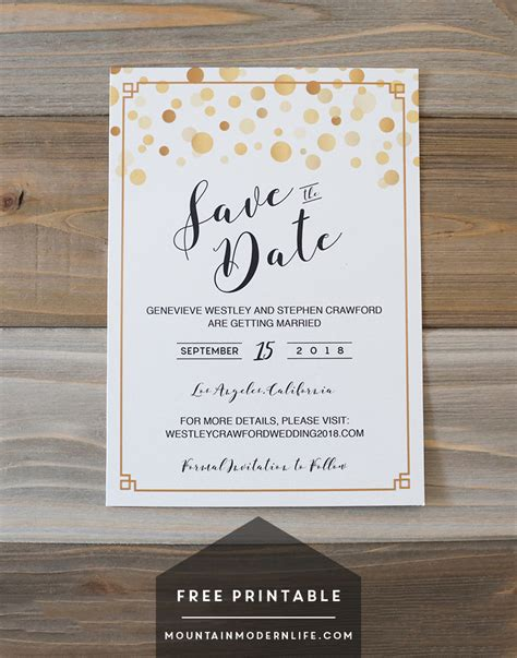 save the date printable templates modern diy save the date free printable