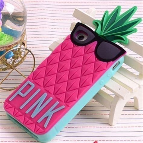 3d pink glasses pineapple soft silicone for apple iphone 5 5g 5s