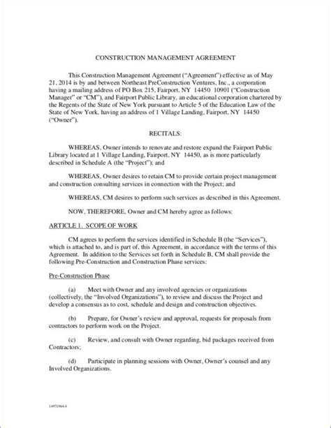 construction management agreement template 16 management contract sles templates free word