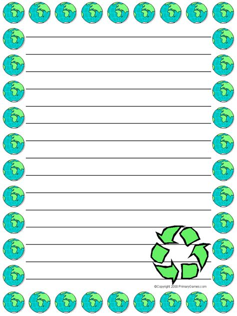 earth day writing paper stationery primarygames free printable worksheets